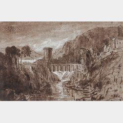 British School, 19th Century    Rugged Landscape with Dam