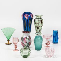 Ten Art Glass Vessels