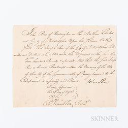 Franklin, Benjamin (1706-1790) Document Signed, 18 August 1788.