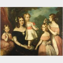 Attributed to George Henry Harlow (British, 1787-1819)  Portrait Group of the Misses Websters of the...Cheltenham