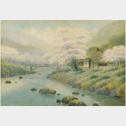 Takeda:  Spring Landscape with Flowering Trees, Cottage, and Rocky Stream with   Bridge
