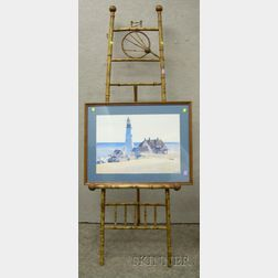 Victorian Aesthetic Bamboo Easel and a Framed Mechanical Reproduction of Edward   Hopper's Portland Head Light.