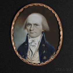 Attributed to John Ramage (New York, 1748-1802)      Portrait Miniature of Frederick Jay, c. 1795.