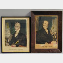 Two Framed Currier Hand-colored Engravings of Martin Van Buren and William   Henry Harrison