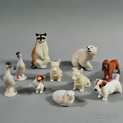 Ten Porcelain Animal Figures
