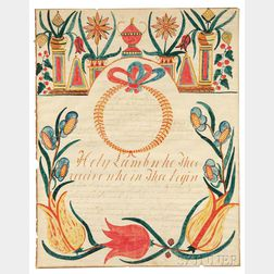 Watercolor and Pen and Ink Fraktur for Lydia Rebecca Waters (b. 1853)
