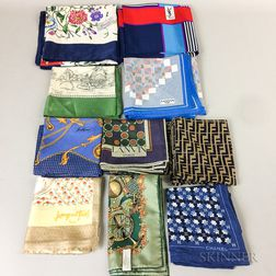 Ten Designer Silk Scarves