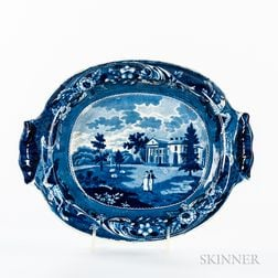 "Staffordshire Historical Blue Transfer-decorated ""Woodlands Near Philadelphia"" Vegetable Dish"