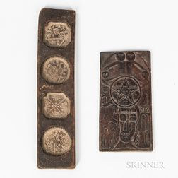 Carved Wooden Cookie Mold Panel and a Folk Panel
