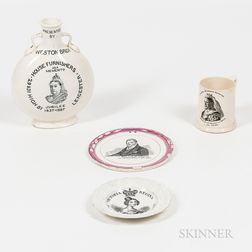 Four British Commemorative Transfer-decorated Ceramic Items