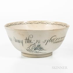 Staffordshire Scratch Blue Decorated Salt-glazed Stoneware Presentation Punch Bowl