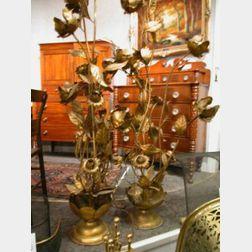 Three Large Art Nouveau Patinated Metal Lamps.