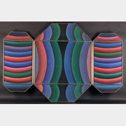 Henry Kallem (American, 1912-1985)    Chinese Scroll / A Geometric Triptych.