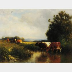 William M. Hart (American, 1823-1894)      Landscape with Cattle