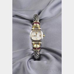 Lady's 14kt Gold and Sterling Silver Gem-set Wristwatch, David Yurman