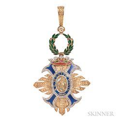 """18kt Gold, Enamel, and Diamond """"Order of Civil Merit"""" Pendant"""