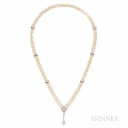 Cultured Pearl and Diamond Sautoir