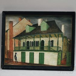 American School, 20th Century      Shadowy Figures/Street Scene, Possibly New Orleans.