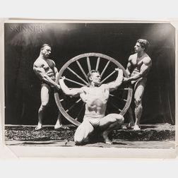 Lon Hanagan (American, 1911-1999)      Bodybuilders Sig Klein, Frank Leight, and Santo Leone