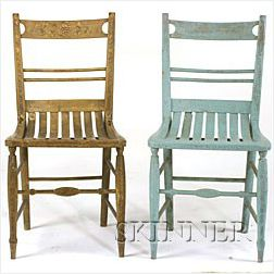 Two Painted and Decorated Bentwood Chairs,
