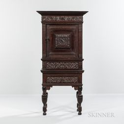 Carved Oak Cabinet-on-Stand