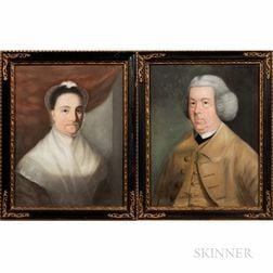 Anglo/American School, 18th/19th Century      Pair of Pendant Portraits: Gentleman in Yellow, Lady in a White Bonnet.