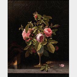 Martin Johnson Heade (American, 1819-1904)      Pink Roses in a Fragile Vase