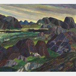 Leighton R. Cram (American, b. 1895)    Rocky Landscape