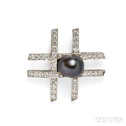 "Platinum, Tahitian Pearl, and Diamond ""Tic Tac Toe"" Brooch, Paloma Picasso, Tiffany"