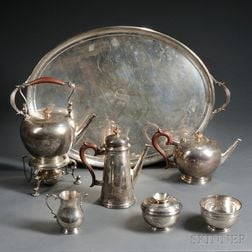 Six-piece George V Sterling Silver Tea and Coffee Service with an Associated Tray