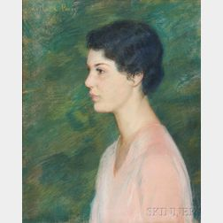 Lilla Cabot Perry (American, 1848-1933)      Portrait of a Young Woman Facing Left