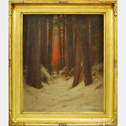 Albion Harris Bicknell (American, 1837-1915)      Sundown in Winter Woods
