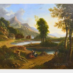 Italian School, 19th Century    Landscape with Ruins and Figures