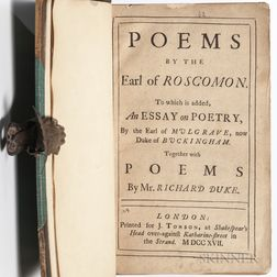 Wentworth Dillon, 4th Earl of Roscommon (c. 1633-1685) Poems.