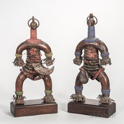 Pair of Contemporary Tanzanian Carved Wood and Beadwork Dolls