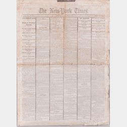 Lincoln, Abraham (1809-1865) Assassination Newspaper, The New York Times  , April 16, 1865.