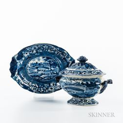 "Small Staffordshire Historical Blue Transfer-decorated ""Upper Ferry Bridge over the River Schuylkill"" Tureen, Lid, and Undertray"