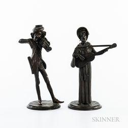 Pair of Bronze Musician Figures