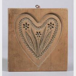 Carved Fruitwood Heart Cookie Mold