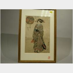 Framed Japanese Woodblock Print of a Woman.
