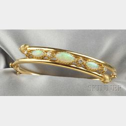 14kt Gold, Opal, and Diamond Bracelet