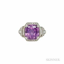 Art Deco Platinum, Pink Sapphire, and Diamond Ring, Raymond Yard