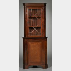 Georgian-style Mahogany Two-part Corner Cupboard