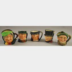 Five Large Royal Doulton Ceramic Character Jugs