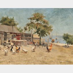 William Langley (British, 1852-1922)      Chickens in a Seaside Farmyard
