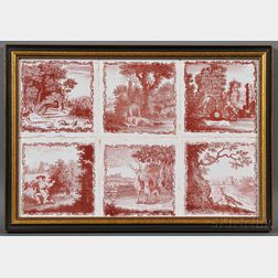 Six Aesop's Fable Transfer-decorated Salopian Pottery Tiles in a Common Frame