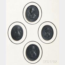 Four Framed Wedgwood Black Basalt Oval Portrait Plaques