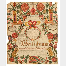 Watercolor and Pen and Ink Fraktur for Elisabeth Burger (b. 1824)