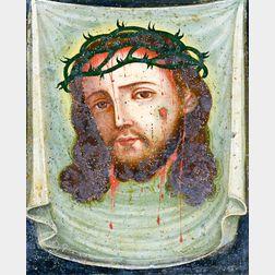 Large Painted Tin Retablo of Christ.     Estimate $200-400