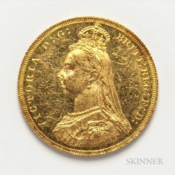 1887 Jubilee Head British Gold Sovereign.     Estimate $200-400